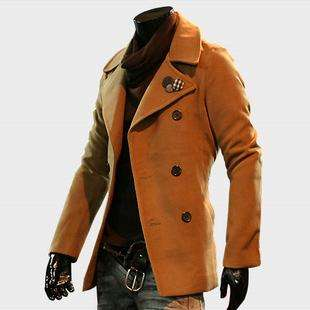 caihao NWT Mens Premium Slim Stylish Wool Double Breasted Trend Coat M