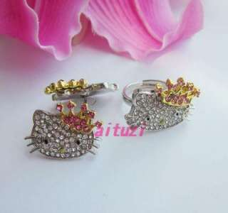 cute Hello kitty crown ring earring ring 2 item set M18