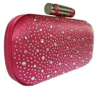 Womens LYDC Designer Satin Diamante Bling Hard Case Box Clutch Or