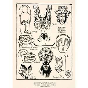 1929 Print African Ceylon Native American Indian Figures