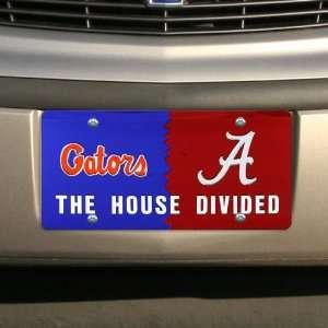 Alabama Crimson Tide House Divided Mirrored License Plate Automotive