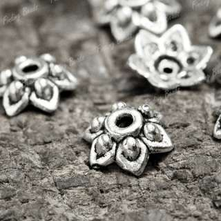 200* fashion Tibetan Silver Flower Bead End Caps TS1323