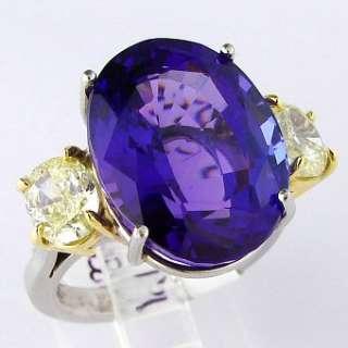 19.50 CT Tanzanite AAA & Fancy Yellow Diamond Plat Ring