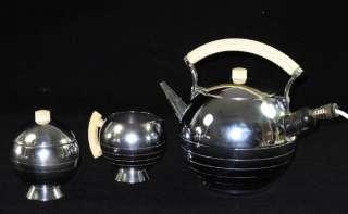 ART DECO MACHINE AGE CHASE CHROMIUM TEA SERVICE SET WALTER VON NESSEN