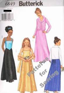 Pattern Sewing Butterick Girl Teen Special Occasion Cardigan Top Skirt