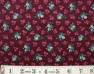 yd Dark Burgundy or Dark Plum Blue Floral Fabric VIP Cranston