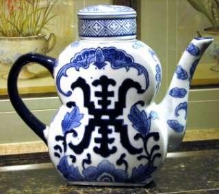 NEW COBALT Blue & White CHINA TEAPOT Pottery Porcelain Delft Style Tea