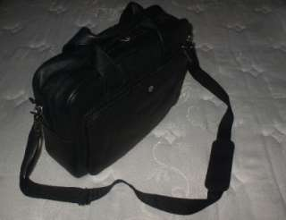 COLE HAAN ZIP TOP BLACK LEATHER BRIEFCASE LAPTOP BAG