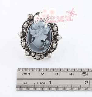 New Style Ancient Bronze Plated/ Silver Plated Rhinestone Lady Oval