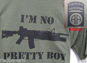 82ND AIRBORNE RANGER T SHIRT/ INPB M4 M203/ MILITARY