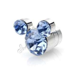 2x Mickey Mouse Magnetic Earring Ear Plug STUD Blue CZ