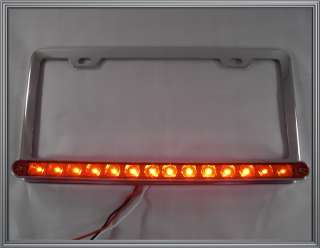 Chrome License Plate Frame w/ Red 14 LED 3rd Brake Light Bar   Hotrod
