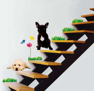 Pup Dog Flower Wall Stickers Vinyl decals Home Mural