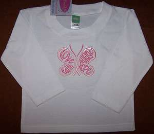 Pink Breast Cancer Ribbon Butterfly LS Baby Todd Shirt