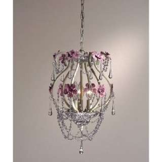 NEW 3 Light Girls Floral Mini Pendant Lighting Fixture, White, Pink