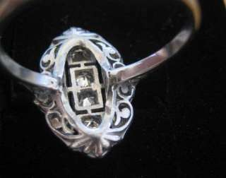 Antique French 18k White Gold Diamond Ring