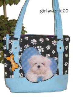 MALTESE DOG ~ PUPPY PAW PRINT QUILTED PURSE BAG