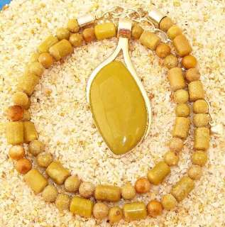 Jay King Mine Finds Huge Serpentine Sterling Pendant Beaded Necklace