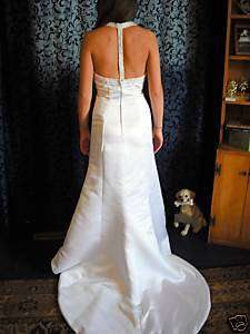 nwt white satin fitted Symphony wedding dress t back 8