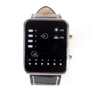 Cool Binary LED Digital Man Lady Leather Watch Black