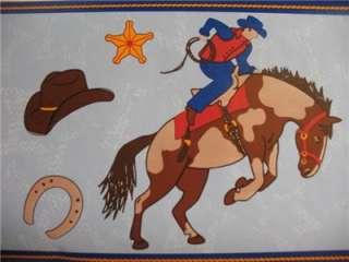 WESTERN COWBOY THEME Horses Boys Room Decor WALL BORDER