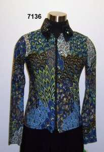 NEW 1849 Ranchwear Blue & Green Peacock Print Top 7136