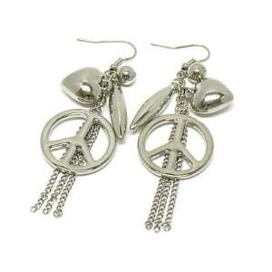 Juicy Look Peace Sign, & Heart Charm Dangling Earrings  White Gold