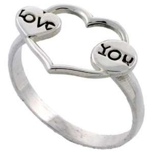 Sterling Silver LOVE Heart Ring (Available in Sizes 5 to