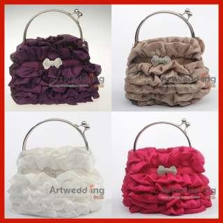 Purple pleated Chiffon Bridal Wedding Evening Clutch Handbag