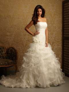 New Elegant Ivory Discount Strapless Organza Wedding dress Bridal Ball