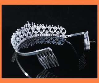 SHINY CLEAR RHIESTONE TIARA CROWN WITH COMBS PARTY WEDD