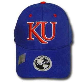NCAA UNIVERSITY KANSAS JAYHAWKS BLUE CAP HAT FLEX FIT