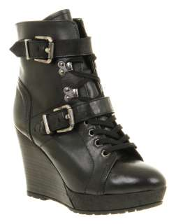 Office NORWEGIAN WEDGE BOOT BLACK LEATHER Shoes   Womens Ankle Boots