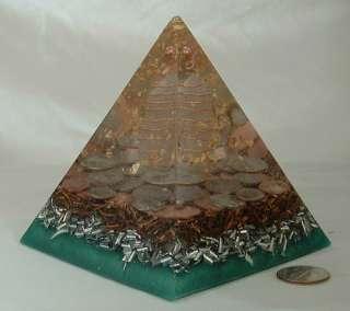 Large Orgone Pyramid Money Prosperity Wealth Gold EMF