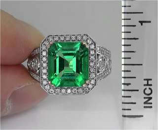 Vintage Estate 4.78 Carat Natural VS Colombian Emerald Diamond Ring