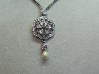 NWOT CAROLEE SILVER PEARL & RHINESTONE BRIDAL NECKLACE