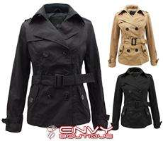 NEW WOMENS LADIES MILITARY LOOK BELTED BUTTON JACKET TRENCH MACS COAT