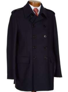 Mario Matteo Made In Italy Mens Wool Navy Blue Peacoat 44R