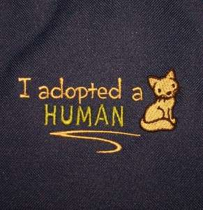 Adopted a Human Cute Kitty Cat Animal Adoption Rescue Large Zipper