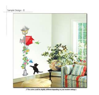 CAT & RED POSTBOX WALL STICKERS DECAL DOCOR MURAL ART