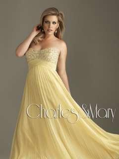 Beaded Empire Line Chiffon Evening/Prom dress/Formal/Ball gown/SZ 6 8
