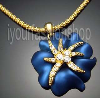 Blue flower 18K Gold plated Swarovski Crystal necklace W10