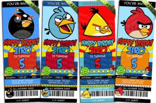 Birds Get Angry Birthday Ticket Invitations