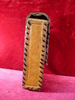 1970s LEATHER CIGARETTE CASE Mayan AZTEC Mexico PHONE Camera VINTAGE 2
