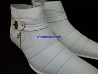 Mens White D ALDO Designer Cross Design Ankle High Boots Shoes Leather