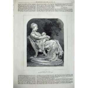 1876 Antique Print Mother Baby Rocking Chair Dalou Art