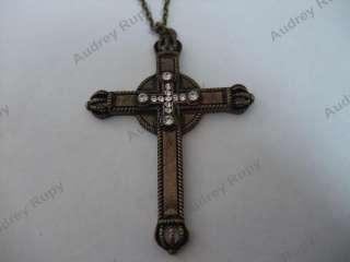 Antique Vintage Rhinestones Steel Cross Chain Necklace