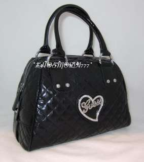 GUESS EUCLID Bowler Quilted Bag Purse Sac Wallet Heart