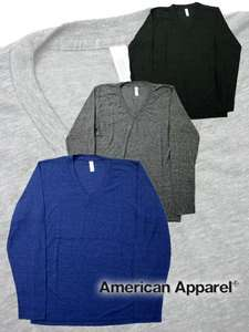 TR476 American Apparel LONG SLEEVE V Neck T Shirt