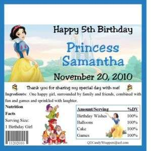 Snow White Candy Wrappers/Birthday Party Supplies